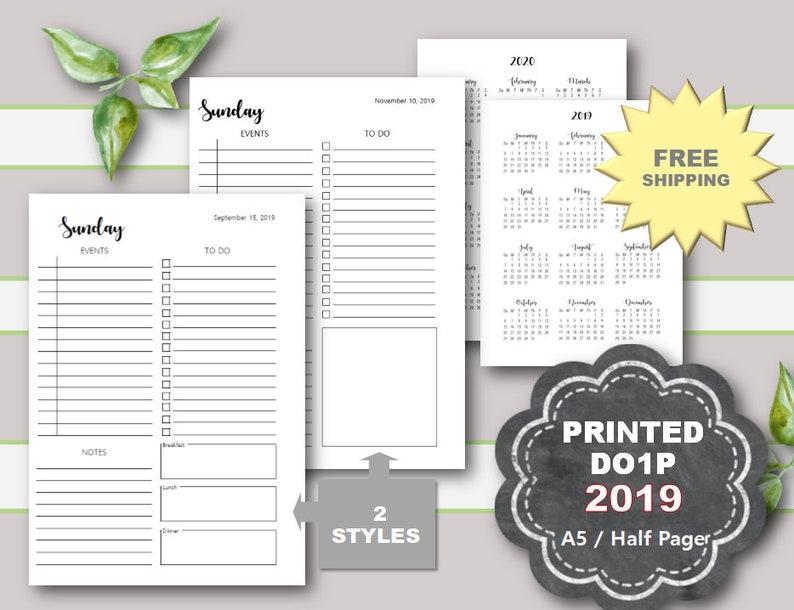 PRINTED 2019 Daily Planner Printable, Daily Planner Inserts, 2019 Printed  Daily Planner Pages, A5 planner insert, Half Page, Filofax, Kikki