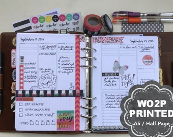 PRINTED Weekly Planner, 2018, Plus Monthly View, Dated, WO2P, Weekly Planner Inserts, Weekly Planner, A5, Half Page, Filofax, Kikki