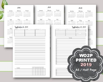 PRINTED Weekly Planner, 2019, Plus month views, Dated, WO2P, Weekly Planner, Weekly Planner Pages, A5, Half Page, Filofax, Kikki K