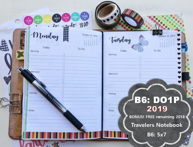 picture relating to Free Printable B6 Inserts identified as B6 TN Each day Planner Printable Add, 2019 B6 Travellers Laptop, B6 tn Day by day Planner Printable, B6 tn Planner Include, 2019 B6 tn increase