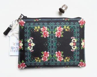 Mum gifts, Border Print, black floral, small zipper bag, travel bag, wallet, zipper pouch.