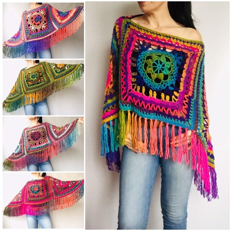 Multicolored Loose fit sweater Knit crochet Vegan festival hippie Pride winter poncho wrap plus size Rainbow soft poncho Women fringe vest