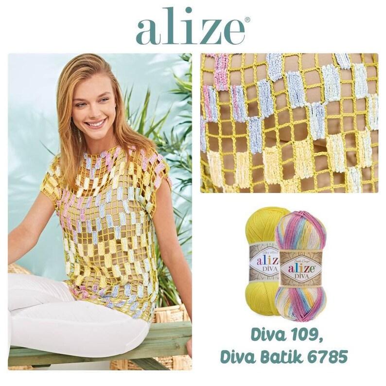 ALIZE DIVA BATIK Design Silk Effect Yarn Crochet Hand