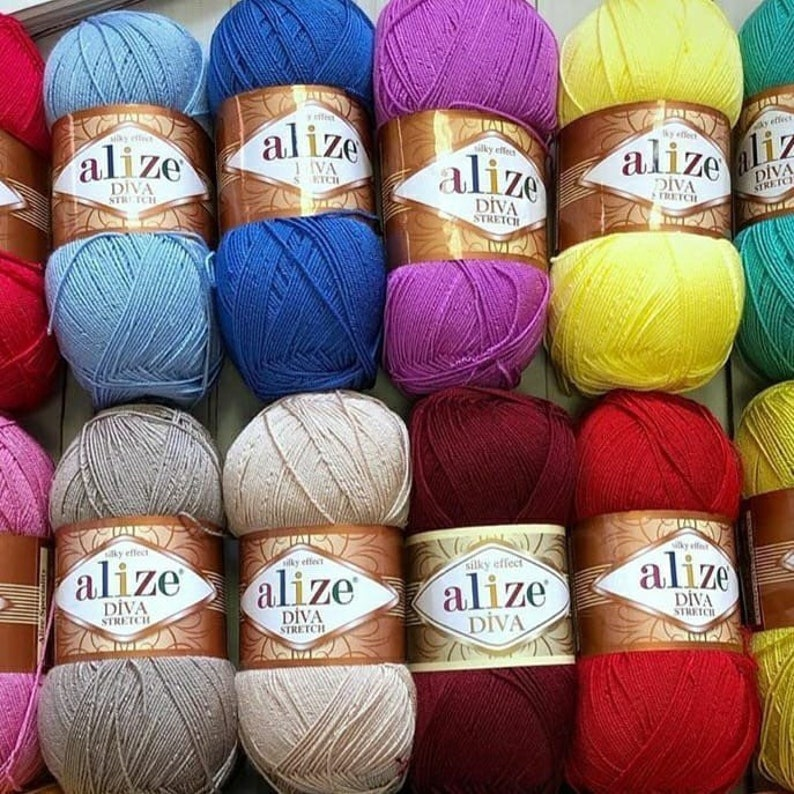 ALIZE DIVA STRETCH Yarn Microfiber Yarn Crochet Bikini Top Hypoallergenic Yarn Lace Crochet Yarn Crochet Swimwear Summer Yarn