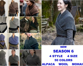 Brown Outlander SEASON 6 Shawl Claire Knit Wrap Alpaca, Wool sontag Triangle Shawl for Mom Her Mohair warm shoulder wrap celtic inspired