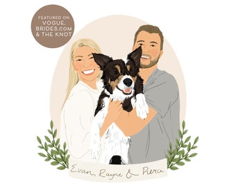 Custom Portrait Illustration, Personalised Wedding Gift, Digital File Only, Couples Portrait Gift, Anniversary, Painting from photo