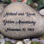 Anniversary Golden Anything Added Hope Inspirational Stones River Rocks Custom Order Carved Namesake Stone Engraved Garden Etched Etching