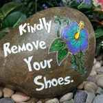 Kindly Remove Your Shoes Stones Garden Rocks Custom Order Carved Home Entrance Front Door Walkway stone engraved garden etched rock etch