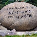 Longitude Latitude GPS Navigation Location Stones River Rocks Custom Order Carved Namesake Family Name Stone Engraved Garden Etched Etching