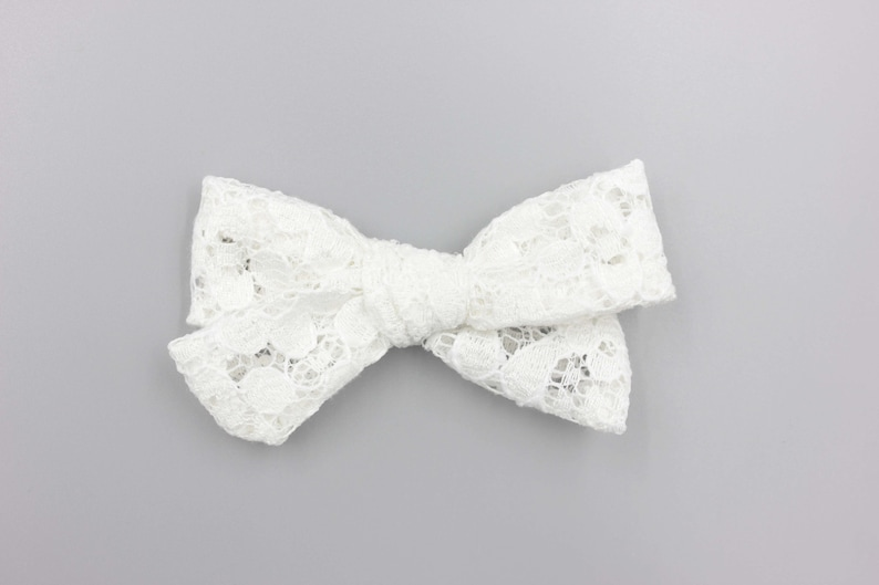 Baby Girl Bows Infant Bows Toddler Bows Baby Shower Gift Bows Headband White Lace Tori Bow