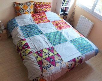 wax adornment duvet cover and 2 240x220 patchwork and grey