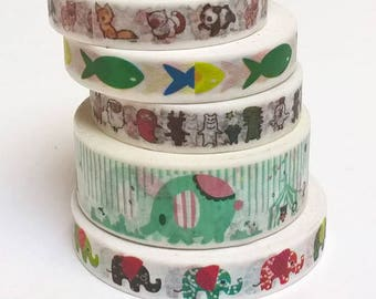 Washi tape animal / dogs, fish, elephants, cats, pandas, width 0.8 or 1.5 cm