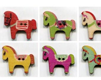Set 3cm choice horse buttons, wood