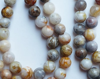 10 natural stone beads * patterns * 8 mm