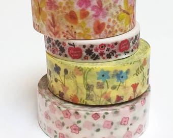 Washi tape flowers 7-10 m pattern choice 0.8 or 1.5 cm