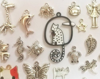 Charms of your choice, metal or enamel: cat, dolphin, fish, turtle, seahorse, fairy, star, bird, lizard, dragonfly