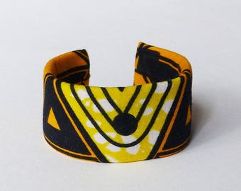 Cuff Bracelet wax graphic fabric