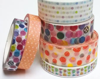 Washi tape pattern dots 5, 7 or 10 meters, pattern choice