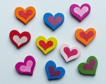 set of 10 wood beads heart 1.7 cm