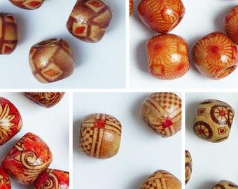 10 12mm, pattern choice wood barrel beads