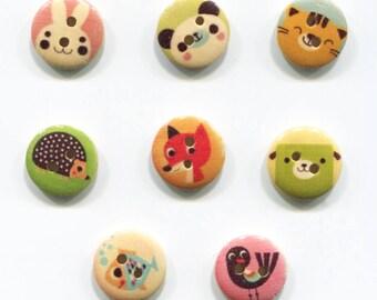 small animal buttons 15mm, wood, animal choice