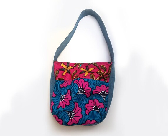 6972a28fa5 bag 2 denim and African motives flowers fuchsia pink blue