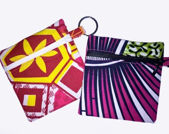 Coin purse, key 9.5 cm pink/green or red/yellow wax