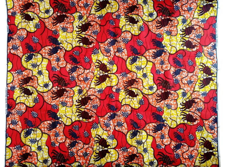 birds and plants African wax fabric by 0.50m