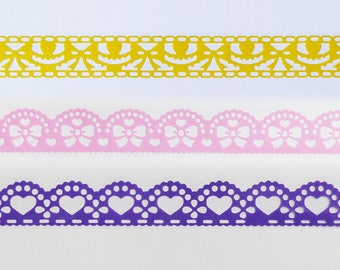 tape lace openwork 1 meter, yellow, pink or purple