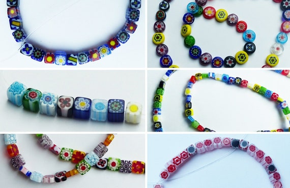 10 x White Green Pink Blue Millefiori Glass Beads Jewellery Making Crafts