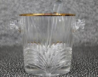 Vintage Ice Bucket w/Glass Ice Pick, Gold Gilt