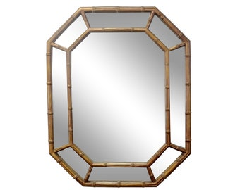 gold bamboo mirror. Gold Octagonal Faux Bamboo Hollywood Regency Mirror G