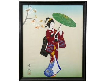 Silk Hand Painted Vintage Geisha - Stunning with gorgeous color!