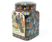 Vintage Square Ceramic Satsuma Peacock and Flowers Ginger Jar