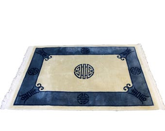 Blue and Creamy White Wool Rug