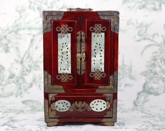 Vintage 1970s Carved Wood Jewelry Cabinet
