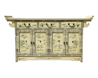 Chinoiserie Yellow Painted Sideboard
