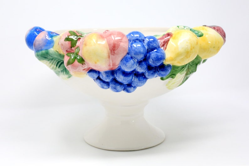 Portuguese Vintage Hand-Painted Made in Portugal Large Fruit Compote Bowl With Lemons Grapes and Strawberries