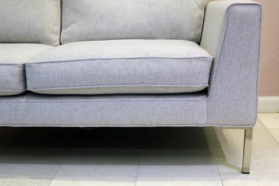 Stupendous West Elm Marco Loveseat In Frost Grey Chenille Tweed With Stainless Steel Legs Machost Co Dining Chair Design Ideas Machostcouk