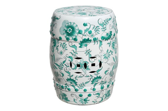 Enjoyable Green And White Garden Stool Table With Hand Painted Flowers And Vines Creativecarmelina Interior Chair Design Creativecarmelinacom