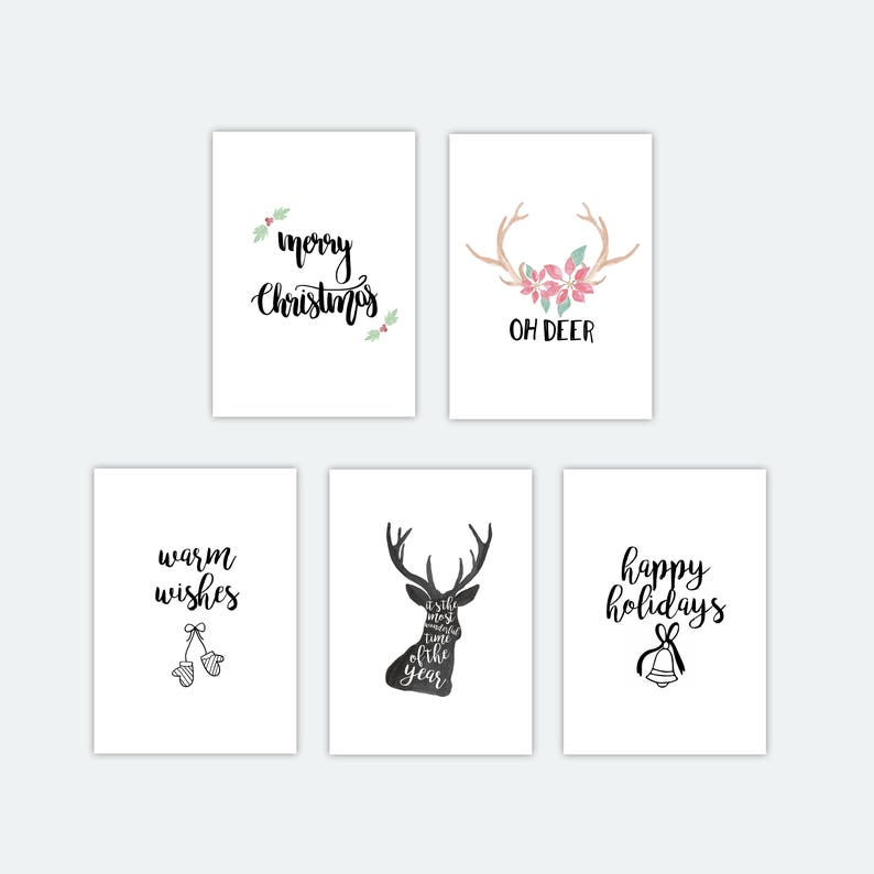 image relating to Printable Christmas Cards Black and White called Printable Xmas Playing cards Established Package deal 5 Playing cards, Greeting Playing cards, Postcard, Merry Xmas, Show, Present