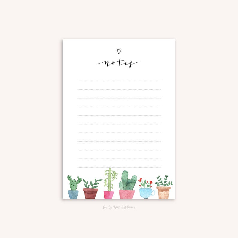 picture relating to Printable Notepad known as Notepad Printable Cactus Crops Watercolor Illusrations 2 Programs A5 Notes Listing Obtain Stationery
