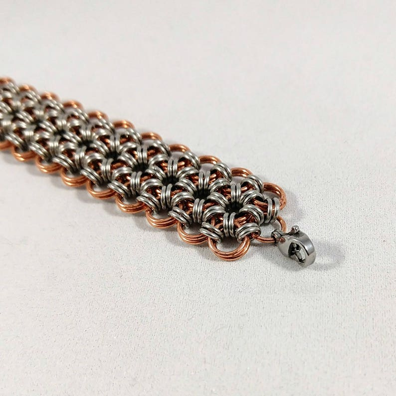 Mixed Metal Chainmaille Bracelet Women/'s Cuff Bracelet Jewelry Copper and Stainless Steel