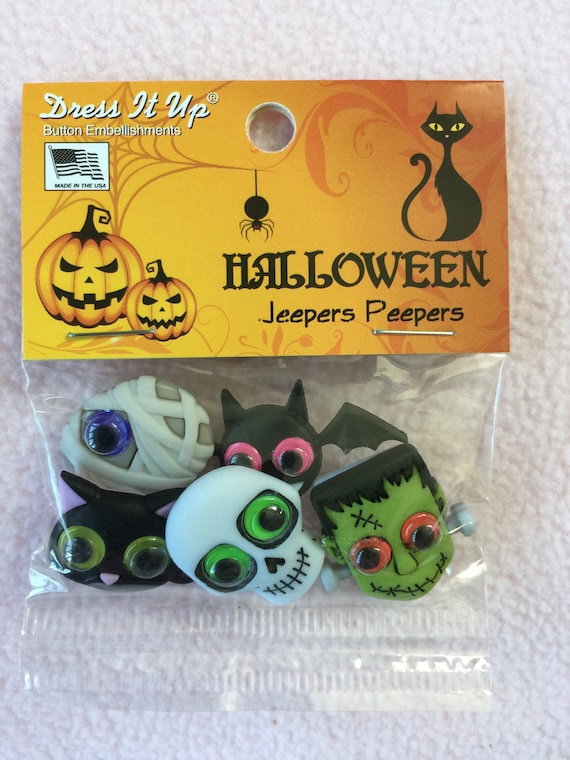 DRESS IT UP BUTTONS ~ ZANY ZOMBIES ~ HALLOWEEN COLLECTION ~ WOBBLY EYES