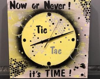 """Tableau/horloge abstrait moderne sur toile """"It's Time"""""""