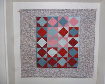 "Squares surrounded by Stones resp. ""Square in a Square"", blue and red Wall Quilt"