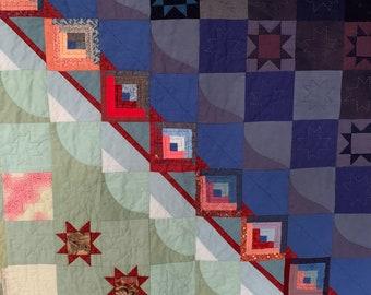 "Patchwork, Quilt ""Dawn"", size abt. 148 x 125 cms."