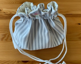 Fabric Bag, black and white Paisley Design outside, inside grey and white Stripes