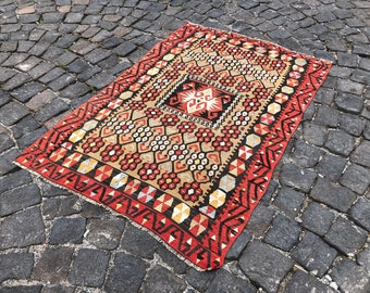 e75d559fb Kilim rug   Vintage area kilim   Turkish kilim rug   Handmade kilim   Wool  kilim !! 4'9