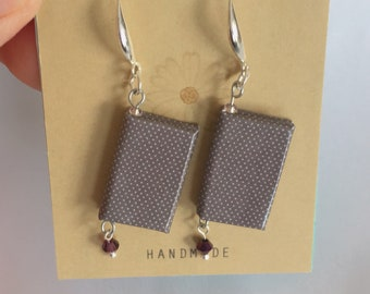 Miniature book earrings with gorgeous purple beads